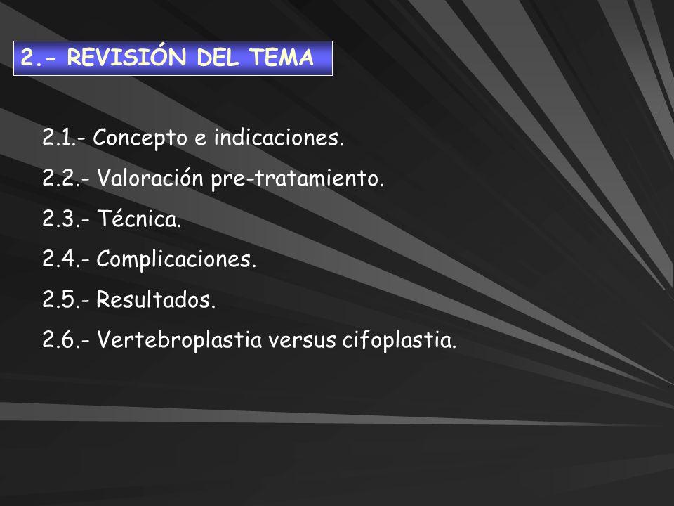 2.- REVISIÓN DEL TEMA2.1.- Concepto e indicaciones. 2.2.- Valoración pre-tratamiento. 2.3.- Técnica.