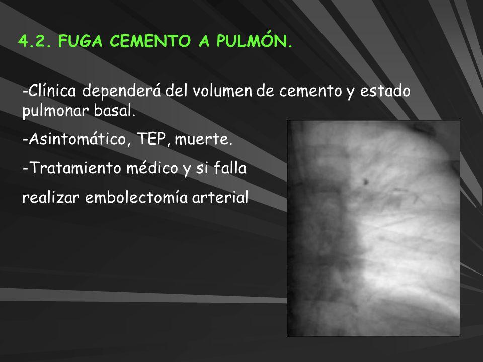 4.2. FUGA CEMENTO A PULMÓN.-Clínica dependerá del volumen de cemento y estado pulmonar basal. -Asintomático, TEP, muerte.