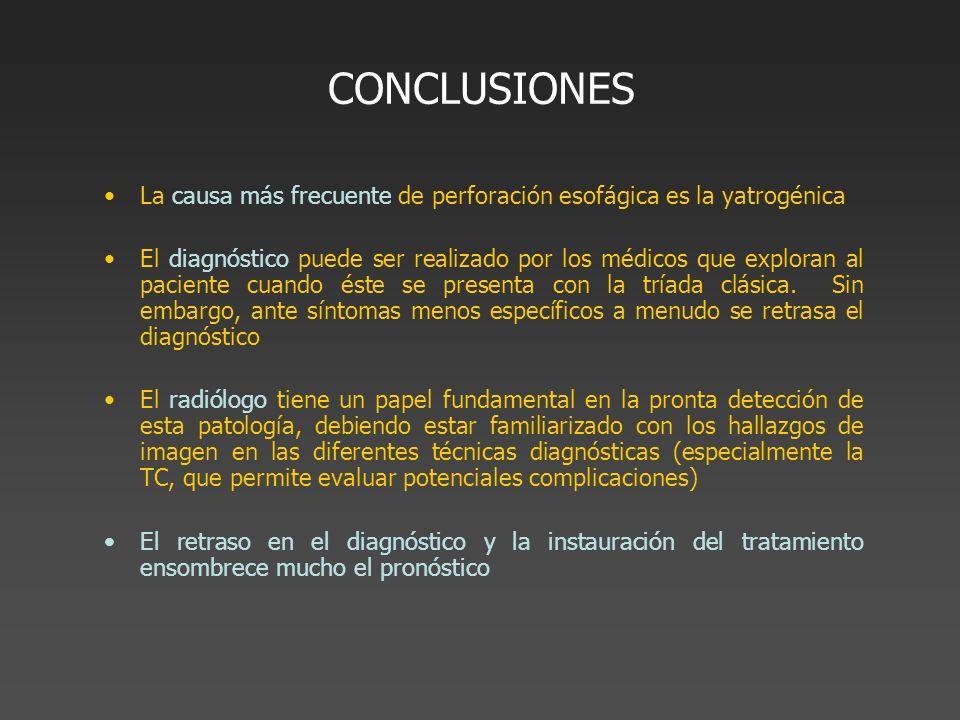 CONCLUSIONES La causa más frecuente de perforación esofágica es la yatrogénica.