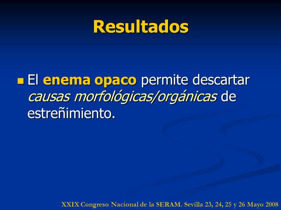 Resultados El enema opaco permite descartar causas morfológicas/orgánicas de estreñimiento.