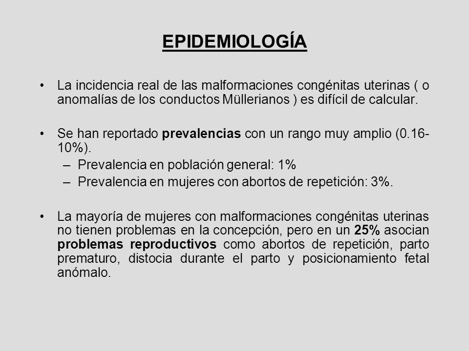 EPIDEMIOLOGÍA La incidencia real de las malformaciones congénitas uterinas ( o anomalías de los conductos Müllerianos ) es difícil de calcular.