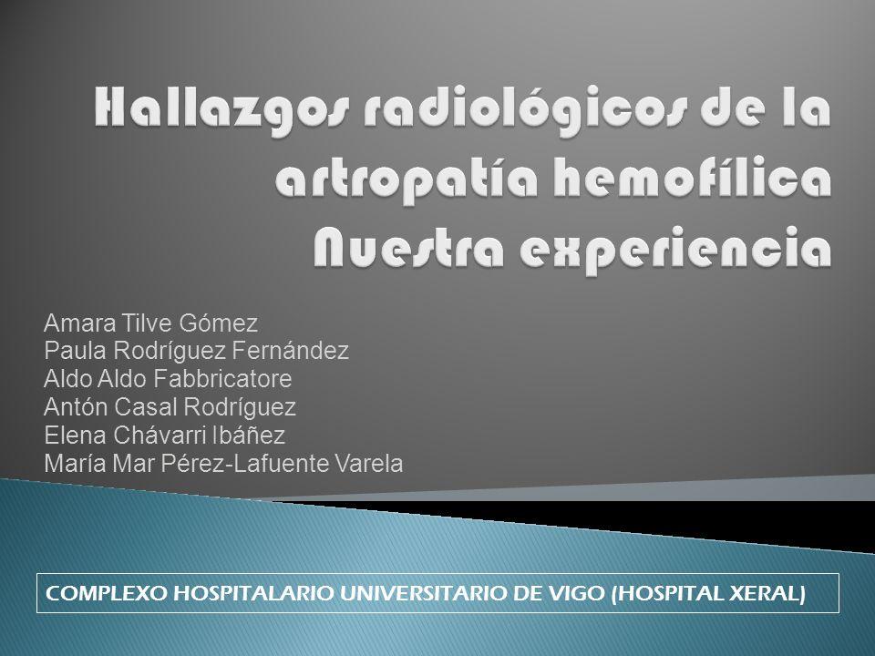 Hallazgos radiológicos de la artropatía hemofílica Nuestra experiencia