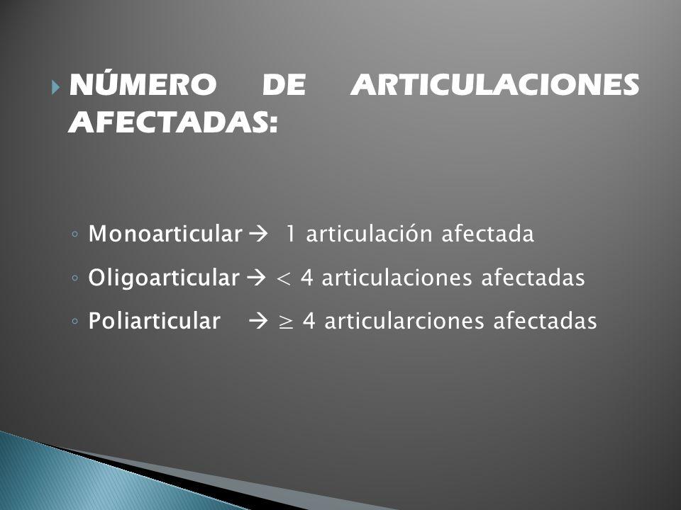 NÚMERO DE ARTICULACIONES AFECTADAS: