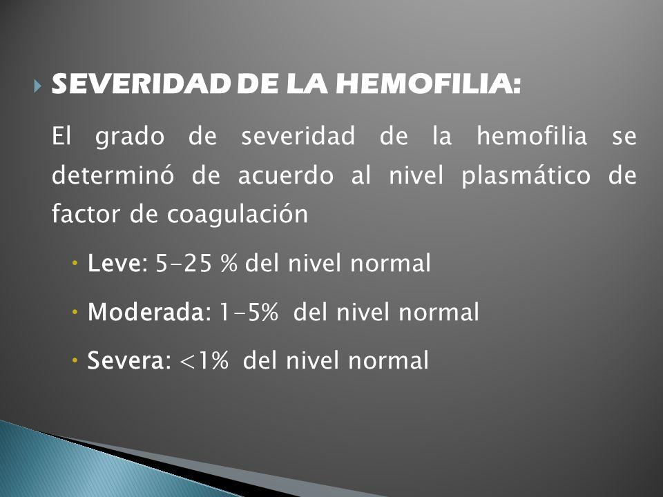 SEVERIDAD DE LA HEMOFILIA:
