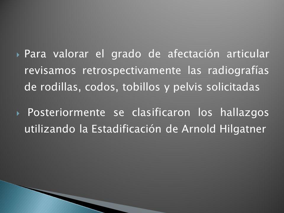 Para valorar el grado de afectación articular revisamos retrospectivamente las radiografías de rodillas, codos, tobillos y pelvis solicitadas