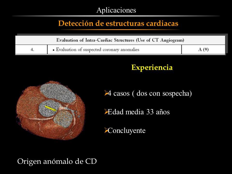Aplicaciones Detección de estructuras cardiacas. Experiencia. 4 casos ( dos con sospecha) Edad media 33 años.