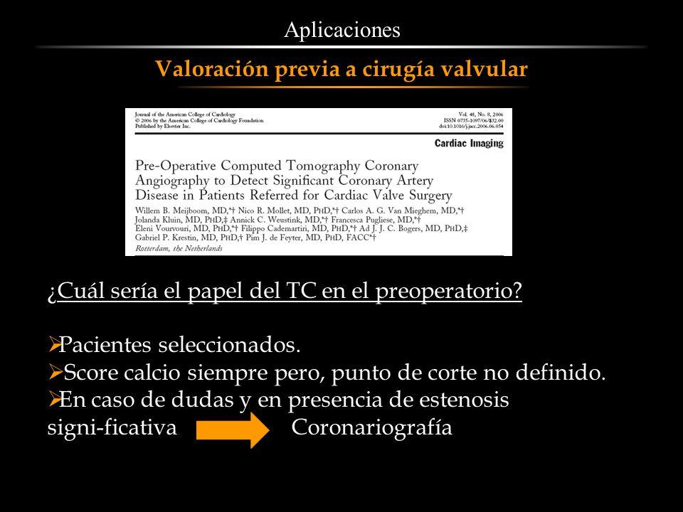 Aplicaciones Valoración previa a cirugía valvular. ¿Cuál sería el papel del TC en el preoperatorio