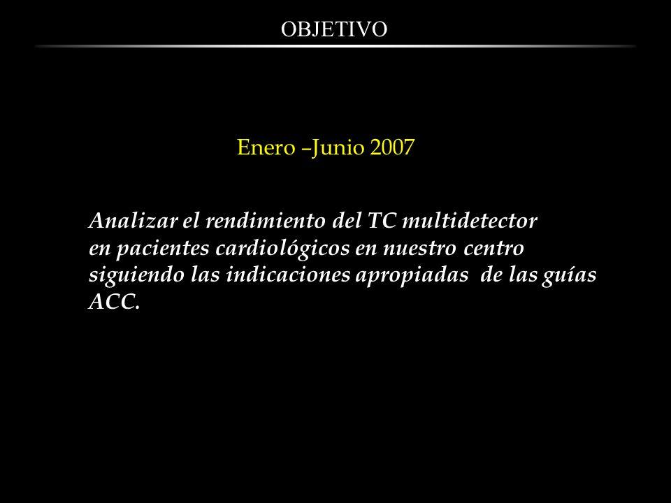 OBJETIVO Enero –Junio 2007. Analizar el rendimiento del TC multidetector. en pacientes cardiológicos en nuestro centro.