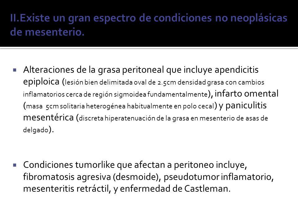 II.Existe un gran espectro de condiciones no neoplásicas de mesenterio.