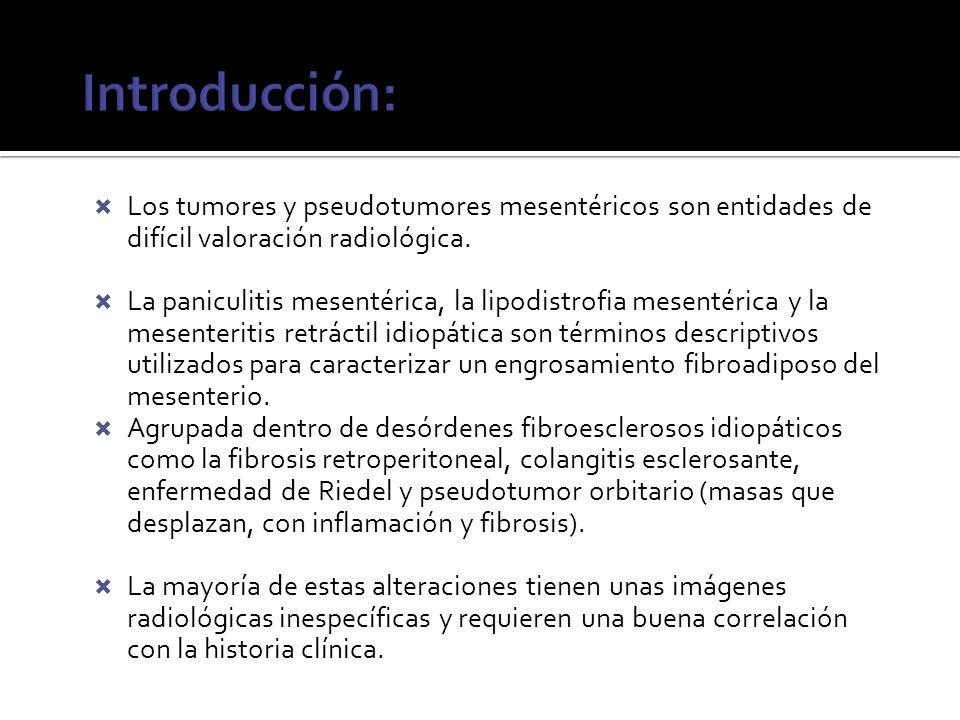 Introducción: Los tumores y pseudotumores mesentéricos son entidades de difícil valoración radiológica.