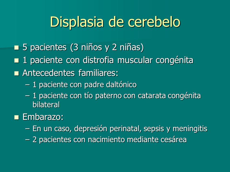 Displasia de cerebelo 5 pacientes (3 niños y 2 niñas)