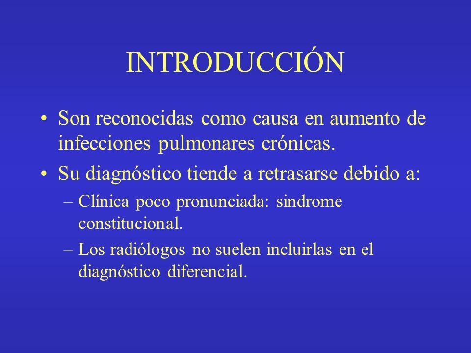 INTRODUCCIÓN Son reconocidas como causa en aumento de infecciones pulmonares crónicas. Su diagnóstico tiende a retrasarse debido a: