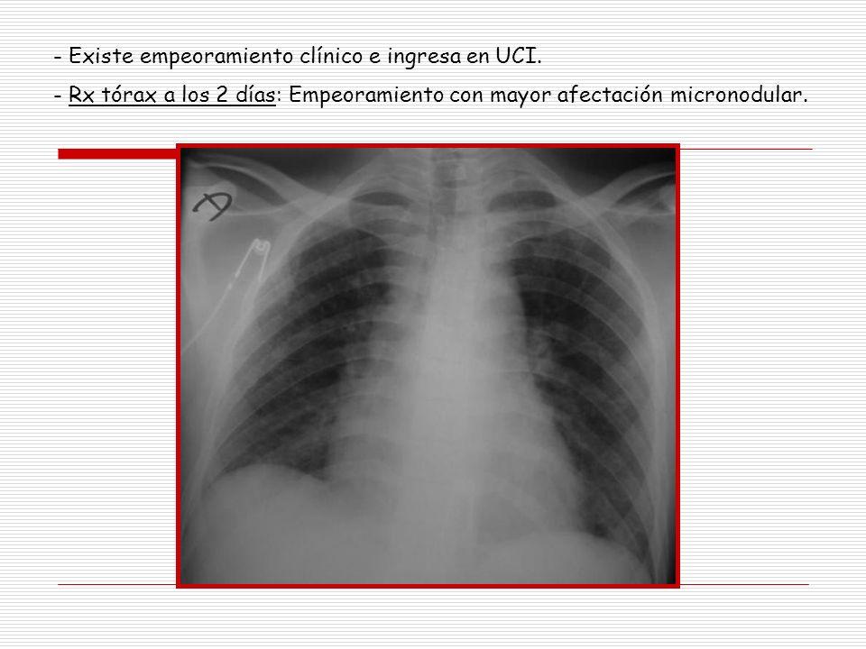 - Existe empeoramiento clínico e ingresa en UCI.