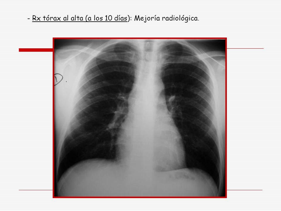 - Rx tórax al alta (a los 10 días): Mejoría radiológica.