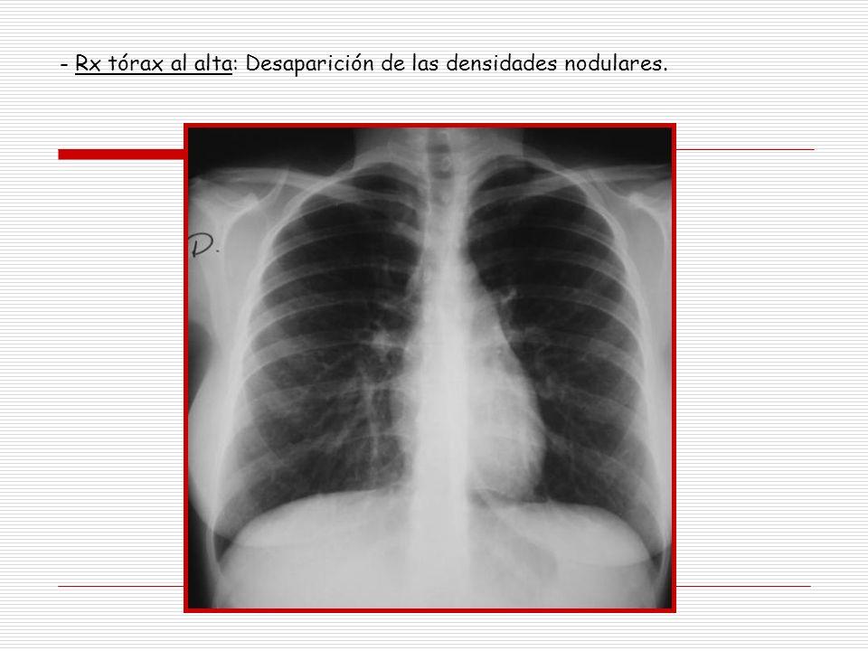 - Rx tórax al alta: Desaparición de las densidades nodulares.