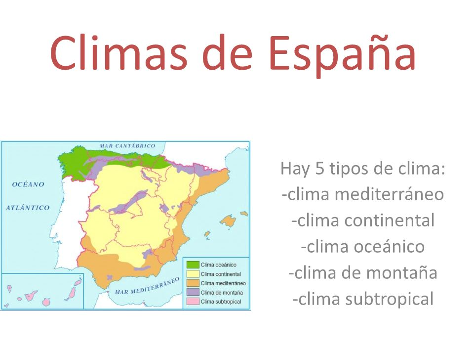 Climas de espa a hay 5 tipos de clima clima mediterr neo for Clima mediterraneo de interior