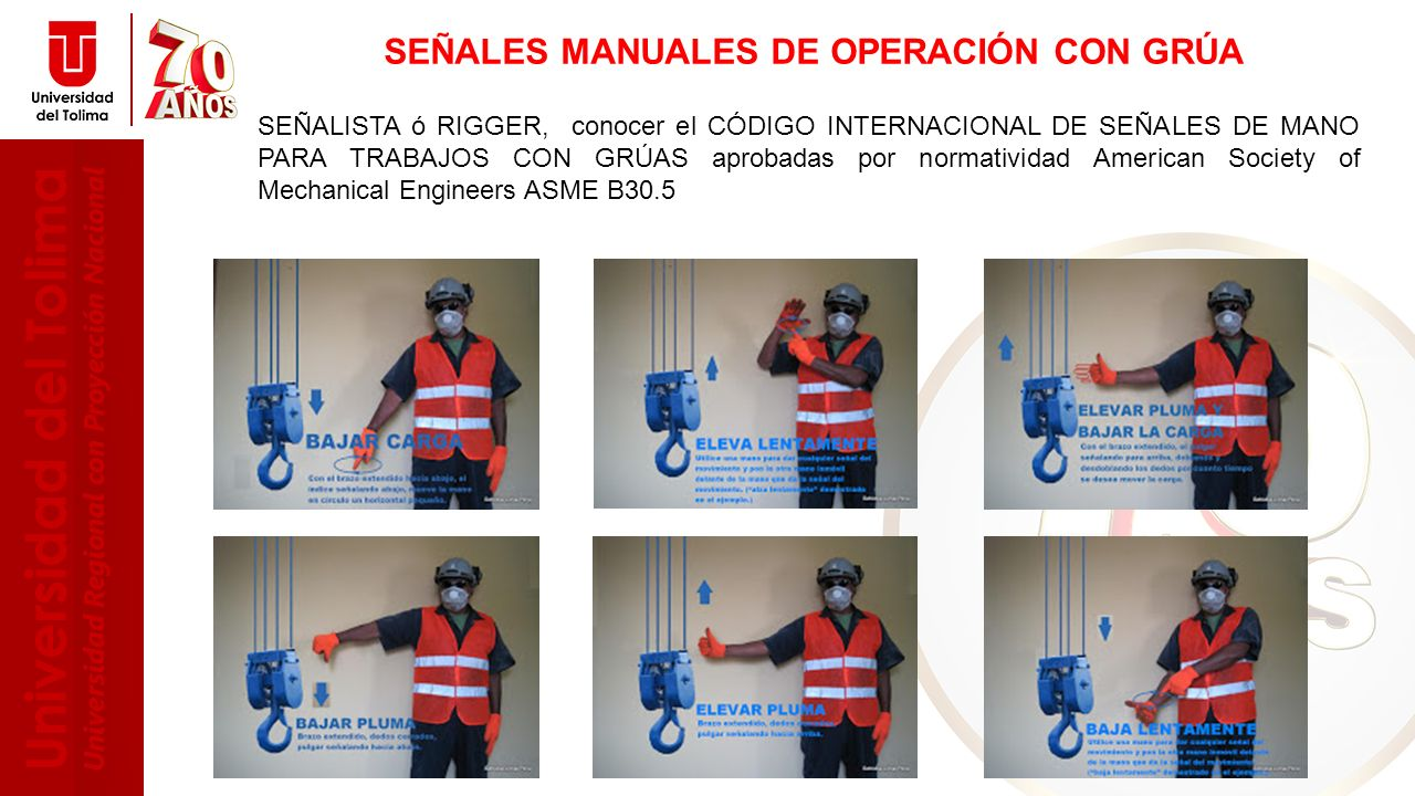 SEÑALES MANUALES DE OPERACIÓN CON GRÚA
