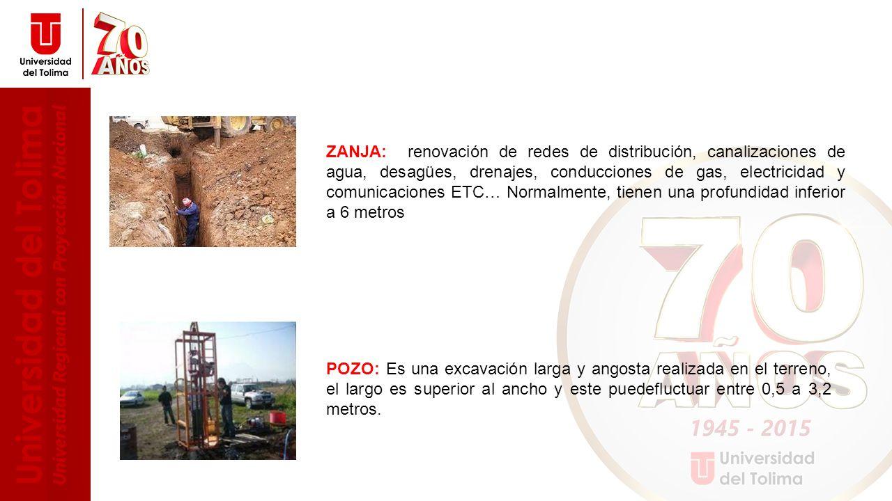 ZANJA: renovación de redes de distribución, canalizaciones de agua, desagües, drenajes, conducciones de gas, electricidad y comunicaciones ETC… Normalmente, tienen una profundidad inferior a 6 metros