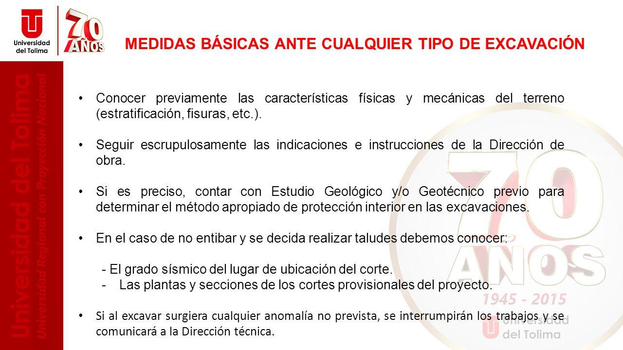 MEDIDAS BÁSICAS ANTE CUALQUIER TIPO DE EXCAVACIÓN