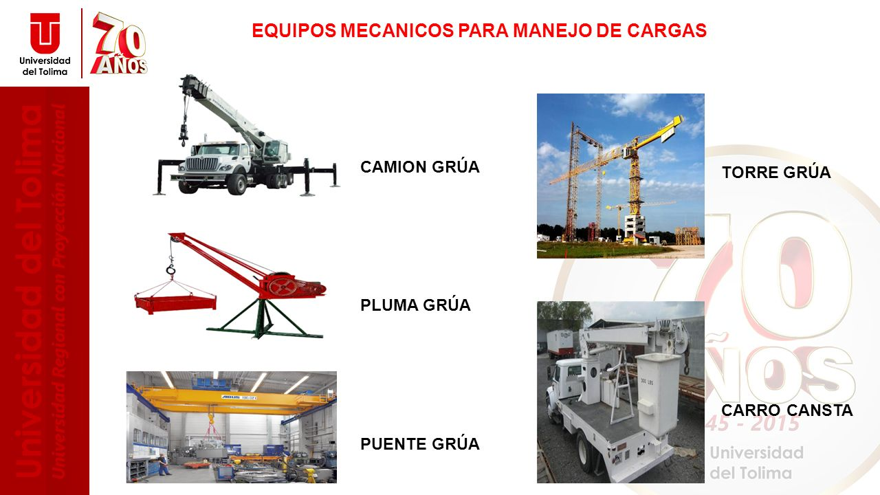 EQUIPOS MECANICOS PARA MANEJO DE CARGAS