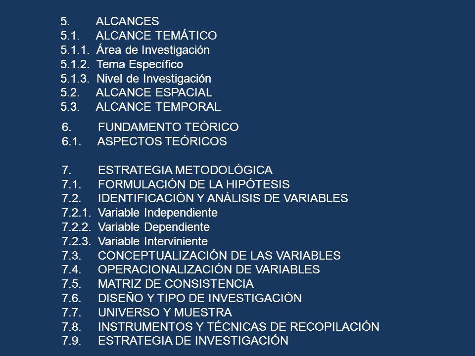 5. ALCANCES 5.1. ALCANCE TEMÁTICO. 5.1.1. Área de Investigación. 5.1.2. Tema Específico.