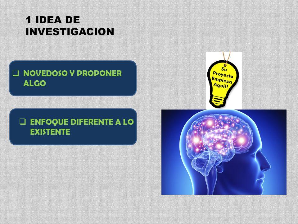 1 IDEA DE INVESTIGACION NOVEDOSO Y PROPONER ALGO