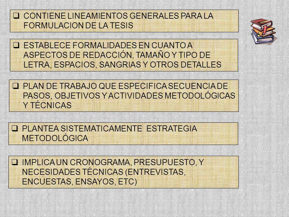 CONTIENE LINEAMIENTOS GENERALES PARA LA FORMULACION DE LA TESIS