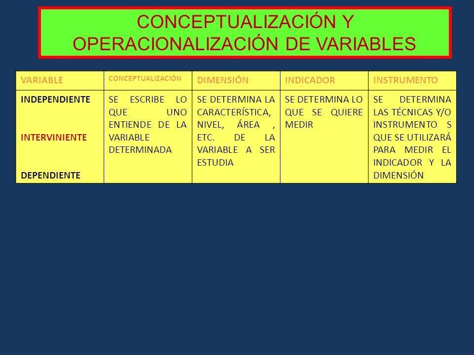 CONCEPTUALIZACIÓN Y OPERACIONALIZACIÓN DE VARIABLES