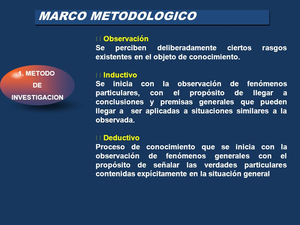 MARCO METODOLOGICO  Observación