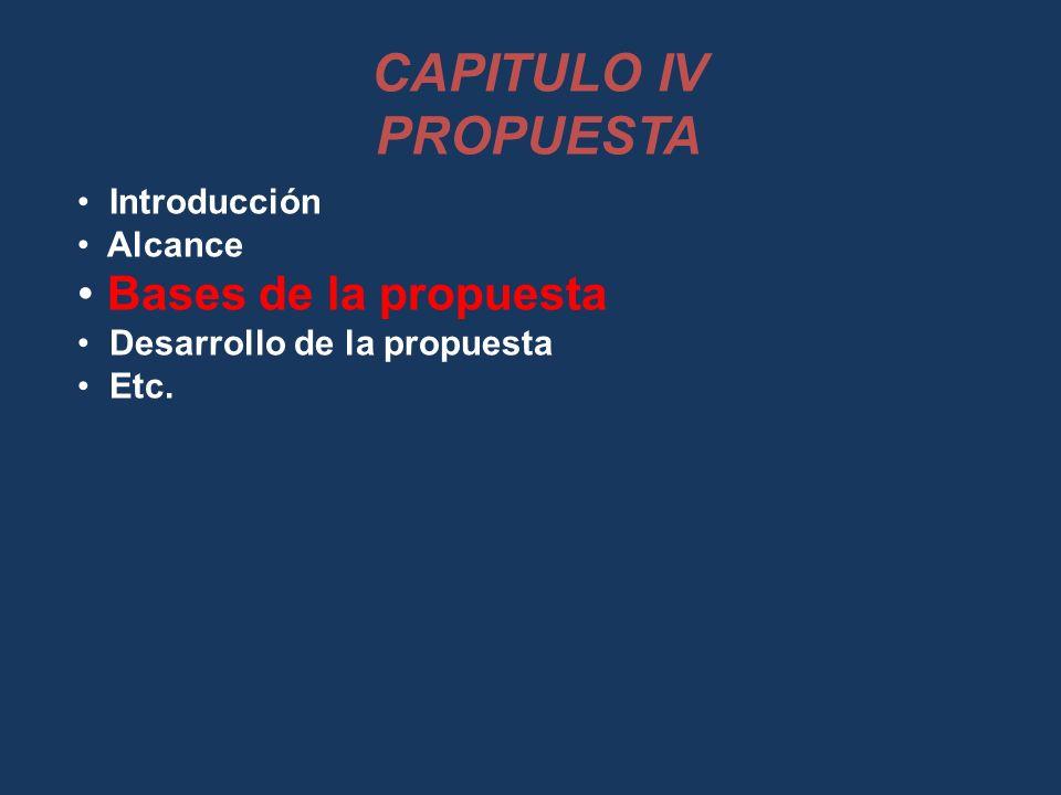 CAPITULO IV PROPUESTA Bases de la propuesta Introducción Alcance