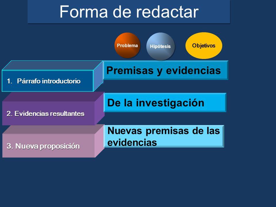Forma de redactar Premisas y evidencias De la investigación