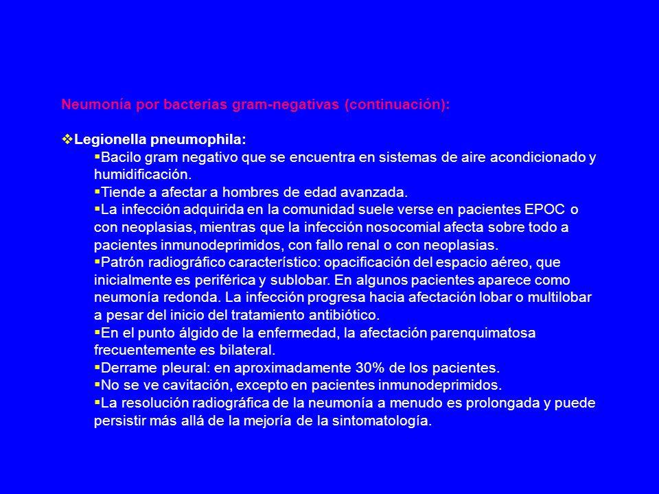Neumonía por bacterias gram-negativas (continuación):
