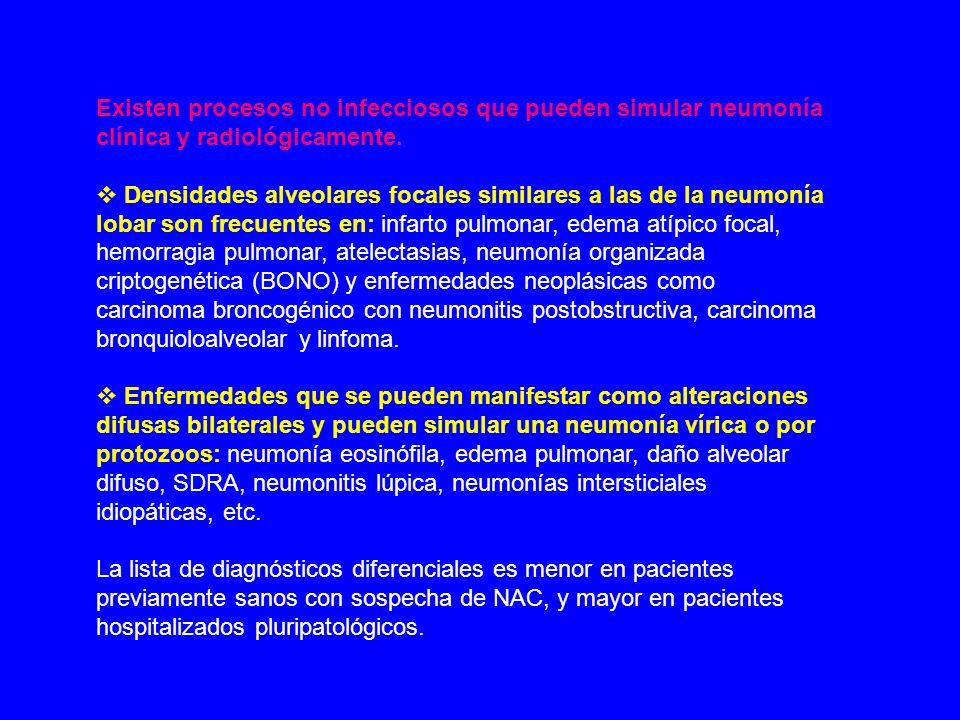 Existen procesos no infecciosos que pueden simular neumonía clínica y radiológicamente.