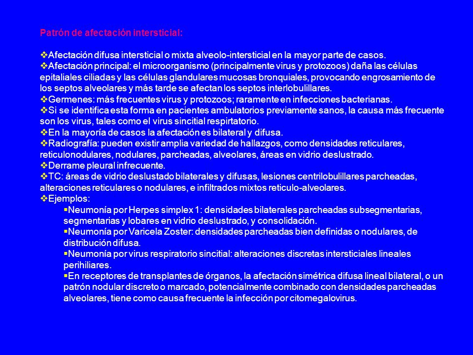 Patrón de afectación intersticial: