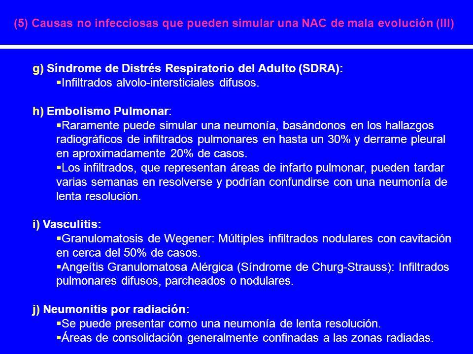 (5) Causas no infecciosas que pueden simular una NAC de mala evolución (III)