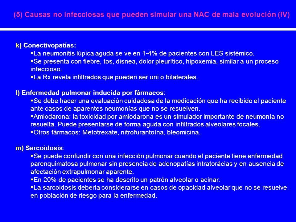 (5) Causas no infecciosas que pueden simular una NAC de mala evolución (IV)