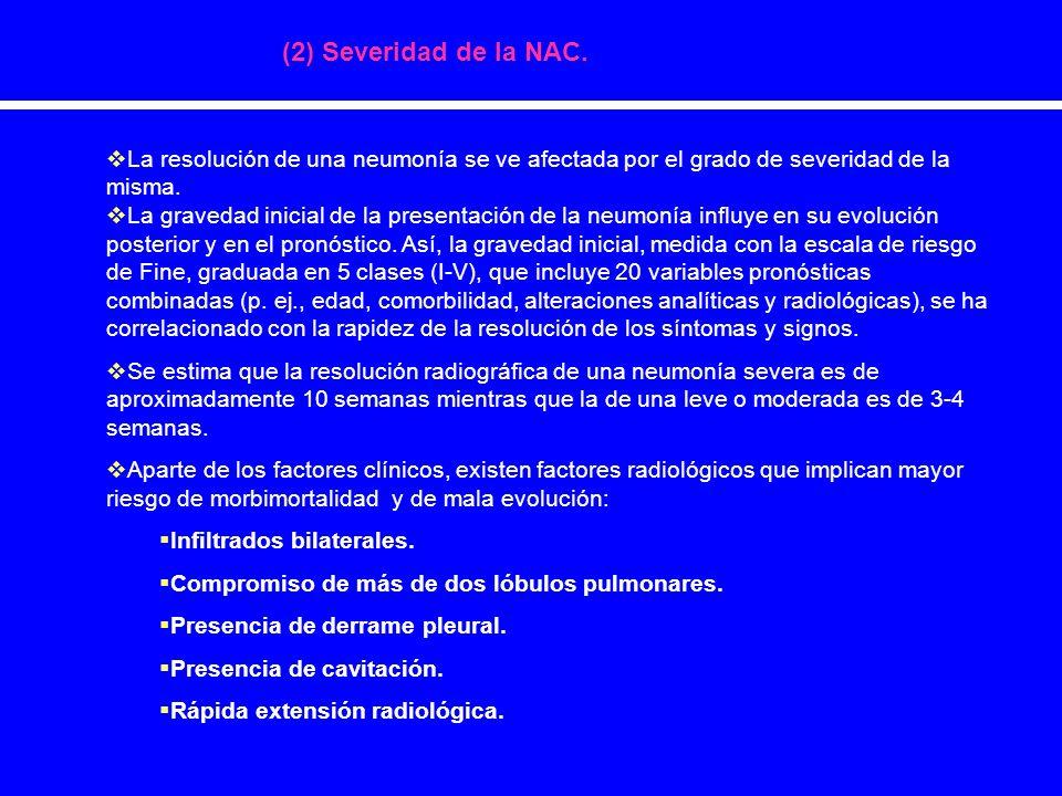 (2) Severidad de la NAC.La resolución de una neumonía se ve afectada por el grado de severidad de la misma.