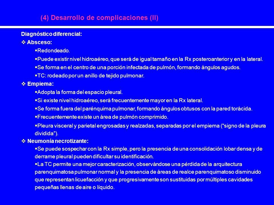(4) Desarrollo de complicaciones (II)