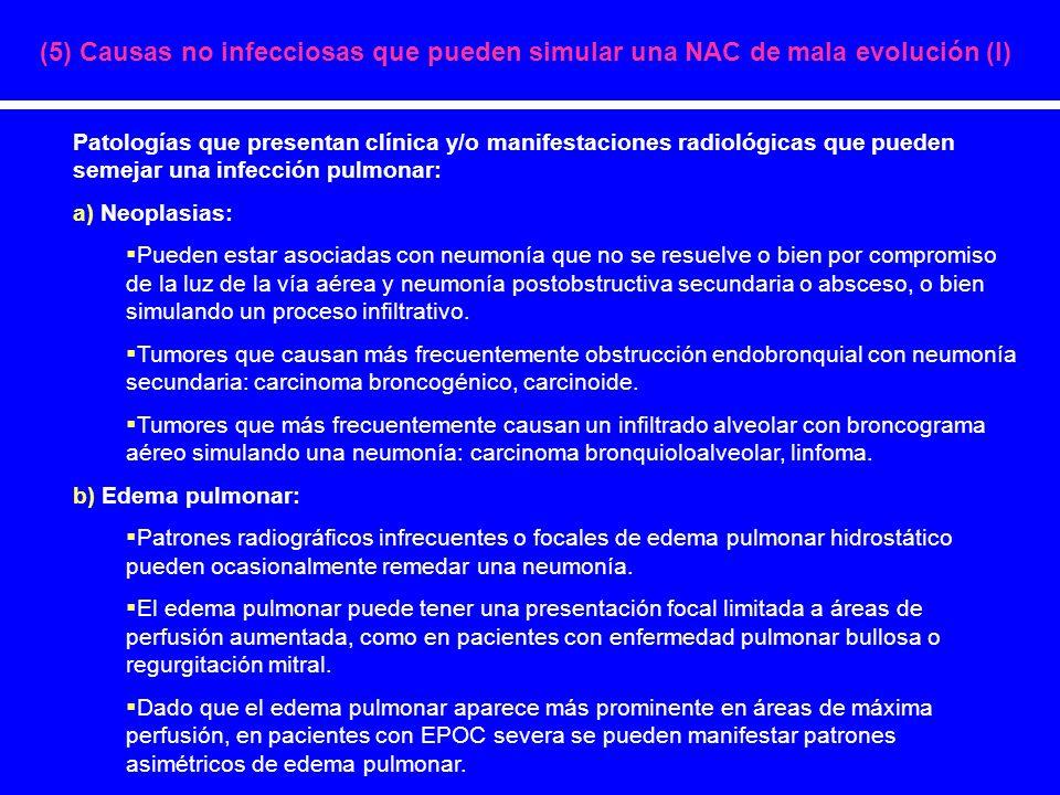 (5) Causas no infecciosas que pueden simular una NAC de mala evolución (I)