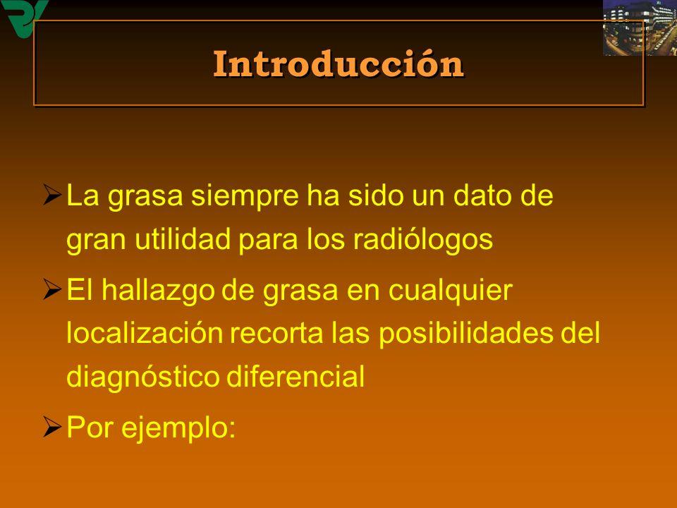 Introducción La grasa siempre ha sido un dato de gran utilidad para los radiólogos.