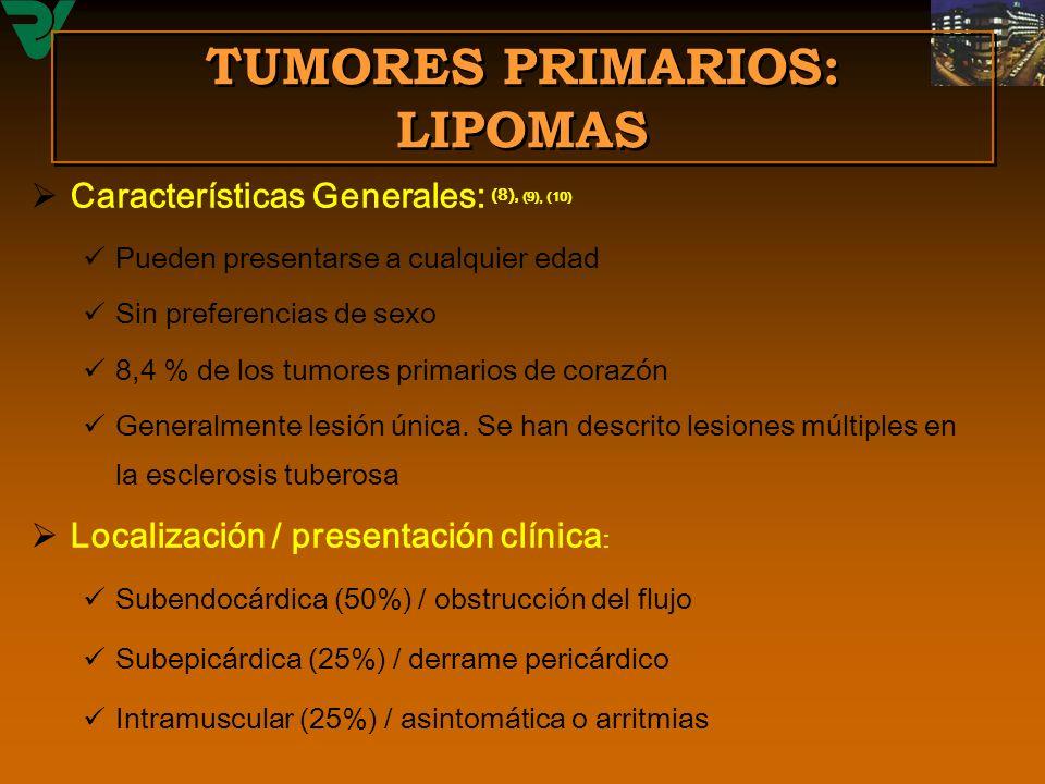 TUMORES PRIMARIOS: LIPOMAS