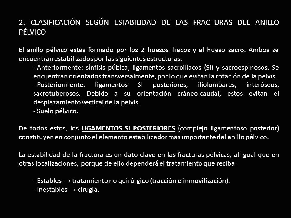 2. CLASIFICACIÓN SEGÚN ESTABILIDAD DE LAS FRACTURAS DEL ANILLO PÉLVICO