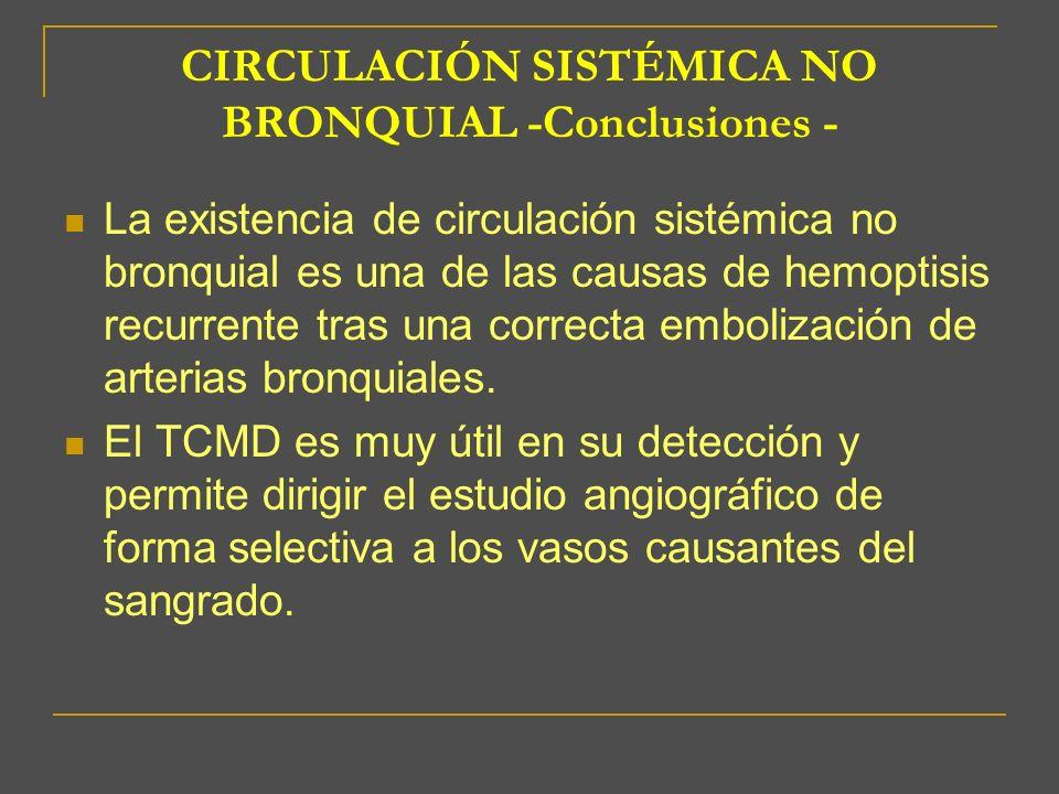 CIRCULACIÓN SISTÉMICA NO BRONQUIAL -Conclusiones -