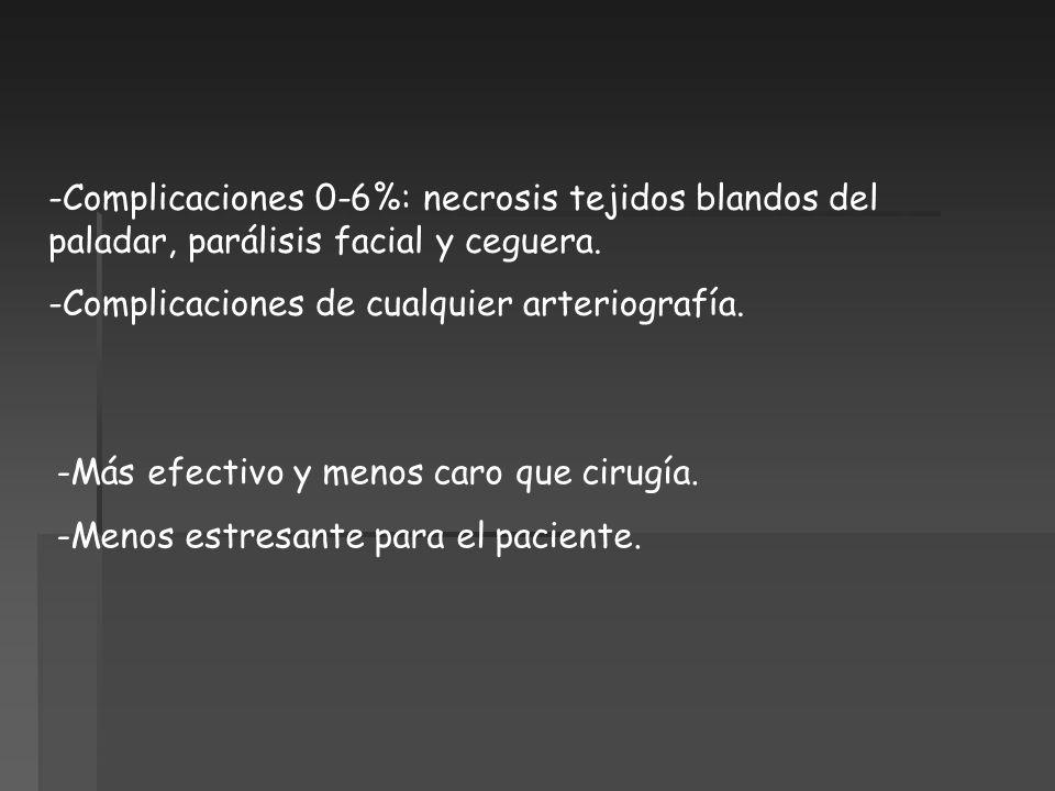 Complicaciones 0-6%: necrosis tejidos blandos del paladar, parálisis facial y ceguera.