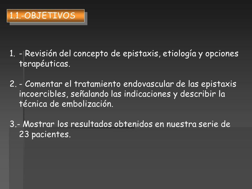 1.1.-OBJETIVOS- Revisión del concepto de epistaxis, etiología y opciones terapéuticas.