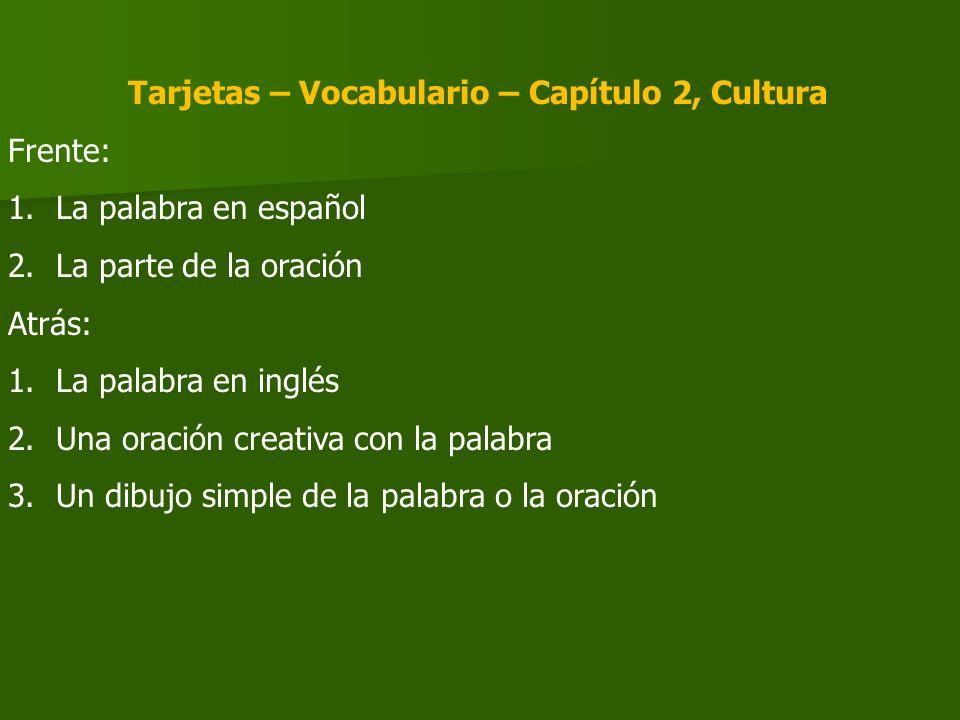 Tarjetas – Vocabulario – Capítulo 2, Cultura