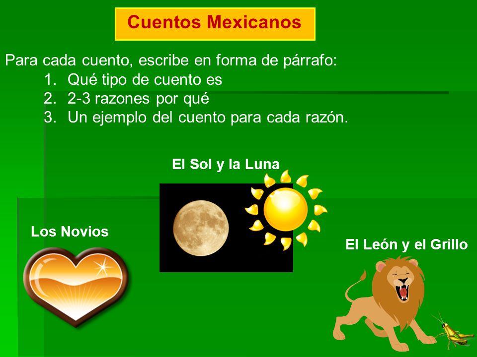 Cuentos Mexicanos Para cada cuento, escribe en forma de párrafo: