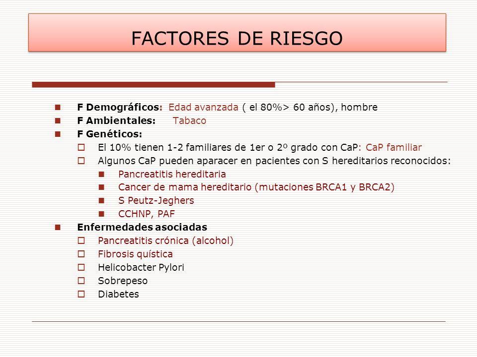 FACTORES DE RIESGO F Demográficos: Edad avanzada ( el 80%> 60 años), hombre. F Ambientales: Tabaco.