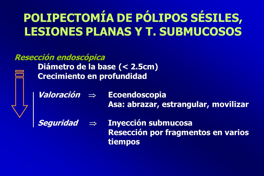 POLIPECTOMÍA DE PÓLIPOS SÉSILES, LESIONES PLANAS Y T. SUBMUCOSOS