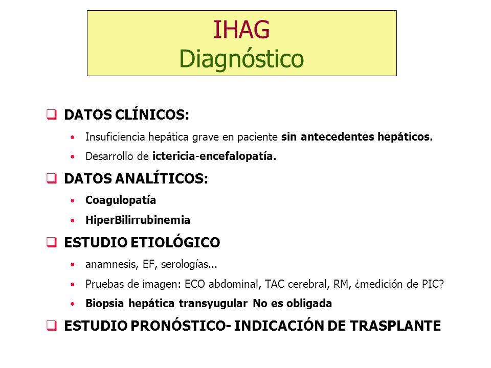 IHAG Diagnóstico DATOS CLÍNICOS: DATOS ANALÍTICOS: ESTUDIO ETIOLÓGICO